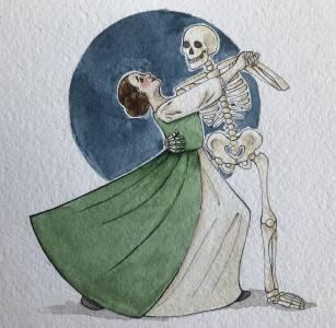 Viivi Lappalainen kuolemantanssi akvarelli 2019