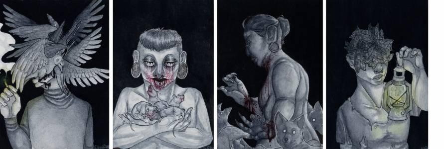 Vinski Saatsi akvarelli- ja tussimaalauksia 2018