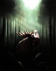 """Saara Haataja digitaaalinen maalaus """"Hirvi"""" 2014"""